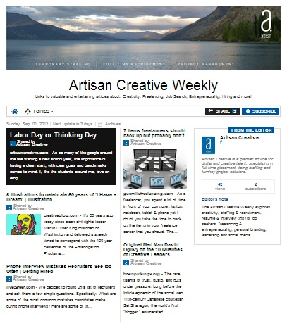 Announcing The Artisan Creative Weekly